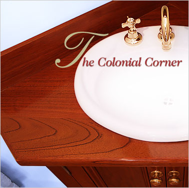 The Colonial Corner Timber Bathroom Vanity with Matching Shaving Cabinet is efficient and well thought yet large enough for many of your bathroom accessories. Click for more information.